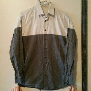 Boys Colorblock Cotton Grey Button Shirt, sz 16